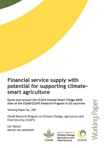 Financial service supply with potential for supporting climate-smart agriculture