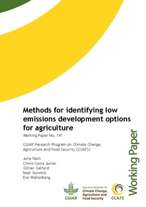 Methods for identifying low emissions development options for agriculture