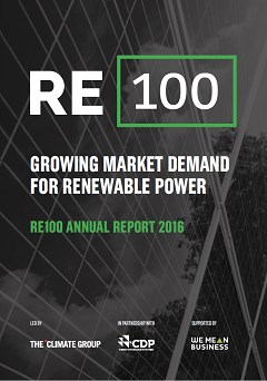 RE100 Annual Report 2016: growing market demand for renewable power
