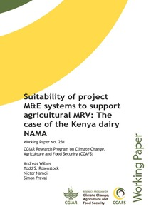 Suitability of project M&E systems to support agricultural MRV: the case of the Kenya dairy NAMA